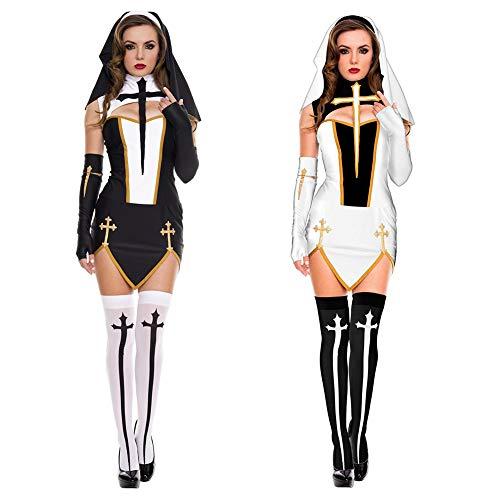 Duk3ichton Disfraces De Halloween Vestido Sexy Monja Iglesia Mujeres Cross Split Fancy Dress Juego De rol Fiesta Cosplay Disfraz Negro