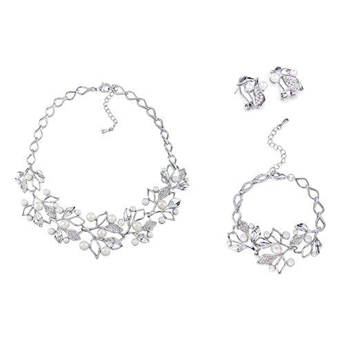 Janeo jewellery sets, pearls & swarovski crystals mix   silver rhodium  argento rodio