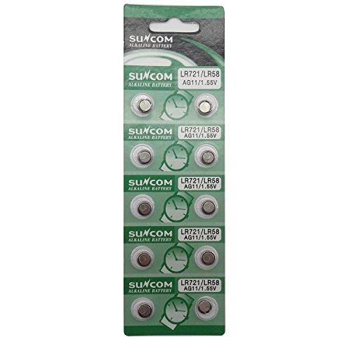 SUNCOM Batterie Single Use Lr721 Lr58 SR720 R58L L721 S12 Uhr Spielzeug-Kameras Fernbedienungen (10...