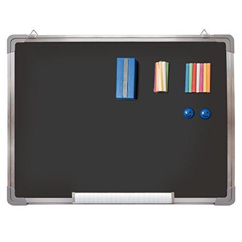 Pack tableau noir – Petit tableau noir 60 x 45 cm + 1 gomme pour craie magnétique, 14 craies (7 couleurs) et 2 aimants - Mini ardoise à suspendre au mur pour la salle de classe des enfants