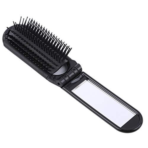 LJSLYJ Portable pliant professionnel Peigne Brosse à cheveux avec miroir de poche compact Taille Voyage peigne, noir