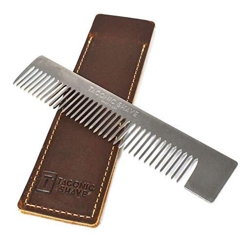 Taconic Shave Edelstahl Taschen Kamm 150mm Lang Leder-Etui