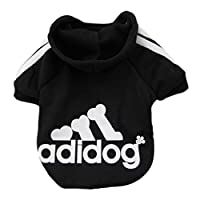 (M, Black) - Moolecole Adidog Pet Dog Hooded Clothes Apparel Puppy Cat Warm Hoodies Coat Sweater for Small Dogs