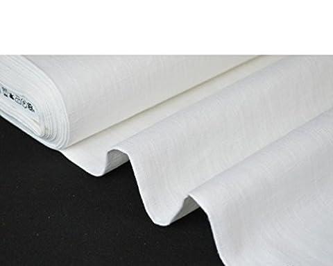 Tissu 100% lin lavé blanc largeur 260cm - Prix au mètre FRANCE MARQUE LINDER (BLANC)