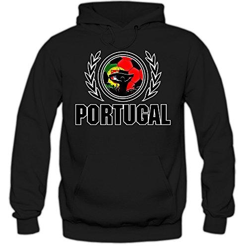 Portugal EM 2016 #2 Hoody | Fußball | Herren | Trikot | Nationalmannschaft, Farbe:Schwarz (Black F421);Größe:L