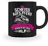 Shirtee Freiwillige Feuerwehr Feuerwehrfrau Prinzessin Pferd HLF Geschenk - Tasse -M-Schwarz