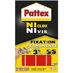 Pattex Ni Clou Ni Vis Pastilles Fixation Permanente, Pastilles double faces ultra fortes pour intérieur & extérieur, pastilles autocollantes ultra résistantes, 10 pastilles