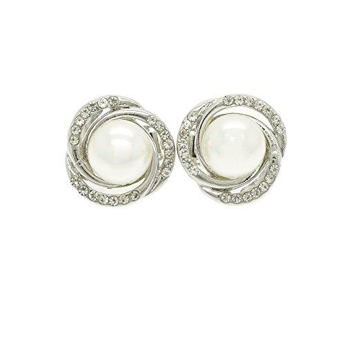 Rotondo moderno Swirl Design cristallo austriaco strass e Faux Pearl clip su orecchini