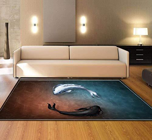 ch Schwarz und Weiß Rundfisch 3D Gedruckter Teppich mit hoher Dichte Geeignet für Familien Wohnzimmer Schlafzimmer, 140Cm (H) X 200Cm (W) ()