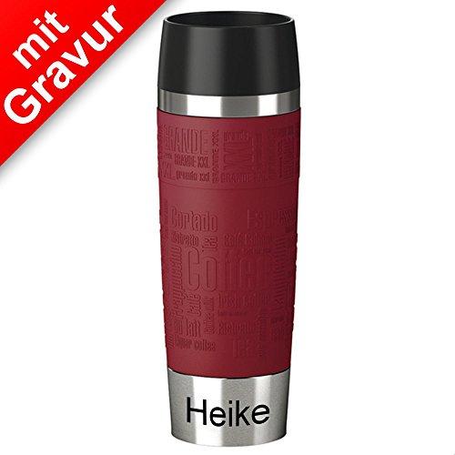 Emsa Isolierbecher MIT GRAVUR (z.B. Namen) ** 500ml TRAVEL MUG Grande Manschette rot ** 100% dicht - Ideal für unterwegs, einfach per Knopfdruck zu öffnen