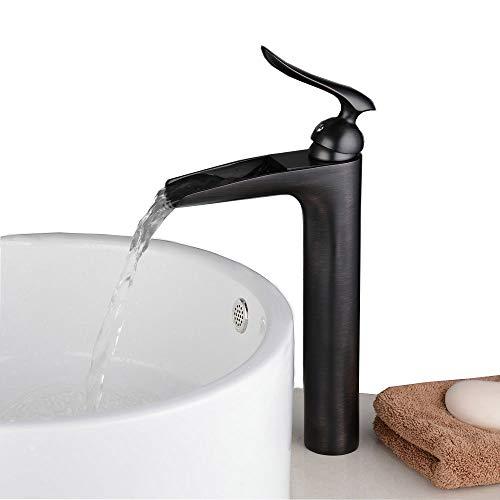 Beelee BL5605BH Messing Armatur Wasserfall Hoch Wasserhahn Waschbecken Waschtischarmatur Einhebelmischer, Schwarz
