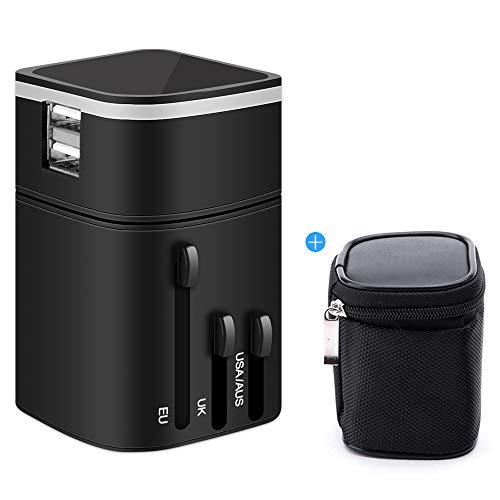 Universellen Reise-Adapter Mit 2 USB-Port Weltweit Adapter US UK EU AU World Travel Adapter für 150 Ländern Ladegerät Reisestecker 3200mA All-In-One Universal Steckdose für Phone,Ipad, Razor …