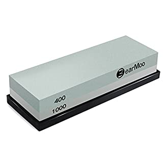 BearMoo Sharpening Stone, 2-IN-1 Whetstone, 400/1000 Grit Knife Sharpening Stone - Waterstone - Rubber Stone Holder Included