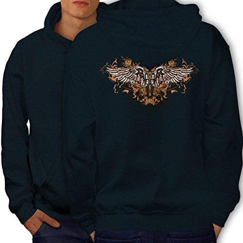 Wellcoda Pistol Gun Angel Wing Men Navy XL Hoodie Back (Angel Wings Hooded Sweatshirt)