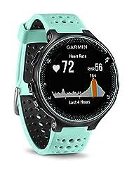 Idea Regalo - Garmin Forerunner 235 GPS Sportwatch con Sensore Cardio al Polso e Funzioni Smart, Nero/Blu Ghiaccio