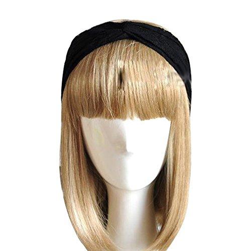 Butterme Frauen Spitze Verdrehte Knotted weiche Haar-Band Retro Turban Twist Kopfverpackung Stirnband ( schwarz)