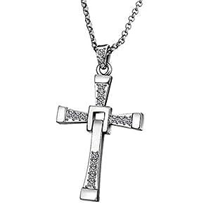 Unisexe Collier Sautoir Croix 65cm Rhodié Plaqué Cadeau Noël Valentine pour Femme ou Homme