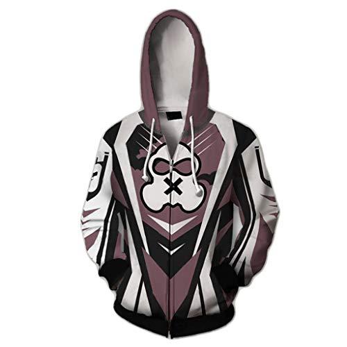 Yujingc Herren 3D gedruckte Hoodie Cosplay Anime Kostüm mit Reißverschluss Sweatshirt Jacke Langarm Pullover Oberbekleidung für Halloween Alltagskleidung,B,XL (Spider Kostüm Für Kleinkind Mädchen)