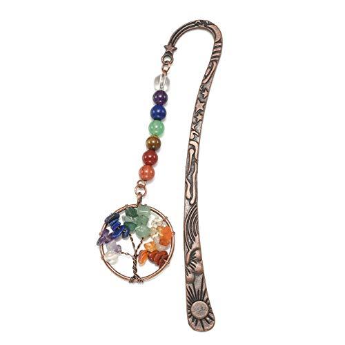 CrystalTears Segnalibro in Metallo Segno Pagina Segnalibri Vintage Stella Luna con Ciondolo 7 Chakra Perline Cristallo Energia Albero della Vita-Albero Lungo*1