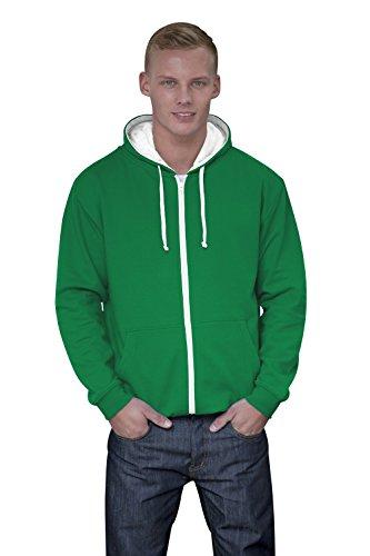 JH053 Varsity Zoodie Sweatjacke Sweatshirt Jacke Kelly Green-Arctic White
