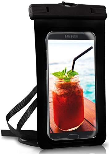 ONEFLOW Wasserdichte 360° Handy-Hülle für Samsung A + J Reihe [Full-Body Cover] Touch-Funktion und Kamera-Fenster + Armband und Schlaufe zum Umhängen, Schwarz