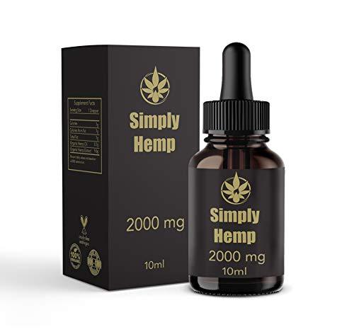 Gouttes simplement d'huile de chanvre 20% 2000 mg | 10ml | Pure Natural Ingredients Co2 extraite à spectre complet | Aidez à réduire le stress, l'anxiété et la douleur | Anti-inflammatoire