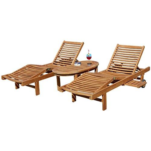 2x Hochwertige TEAK Sonnenliege Gartenliege Strandliege Liegestuhl Holzliege Holz geölt sehr robust...
