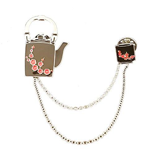 Teekanne Kostüm - Nikgic Nette Kirschblüte Teekanne Teetasse Link Brosche Hochwertige Legierung Mode Persönlichkeit Frau Brosche Geschenk Tag Zubehör