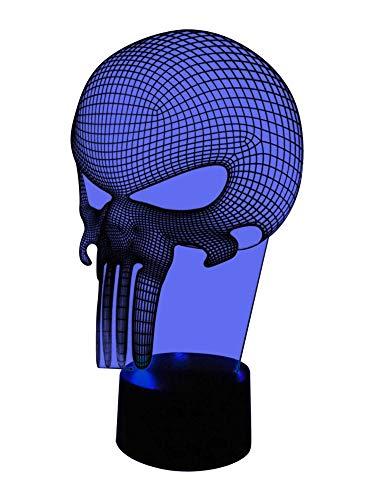 originelle 3D LED-Lampe Totenkopf Nacht-Tischlampe Halloween Skull Schädel Farbwechsel