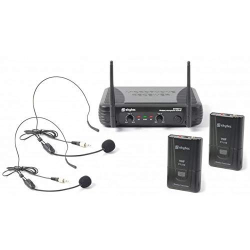 Skytec 179178 Stwm712h Microfono senza fili, a 2 canali VHF, doppia testa
