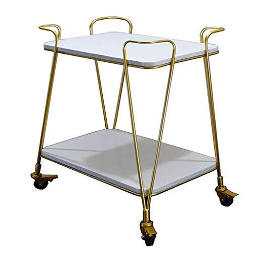 Kitchen Bar Dining Servierwagen Tea Drink Liquor Rack Trolley, Tier Traditionelles Eisen und Massivholz Finish Bar Cart - Gold 61 * 38 * 76 cm