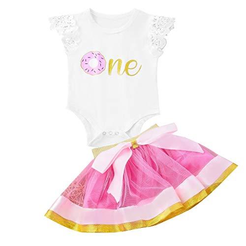 Bekleidung Babykleidung Sommer Pwtchenty Damen Spitze Röcke Kurz Rock Shorts Hosen Outfit Kleiderset T-Shirt Tops + Kleid Zweiteiliges