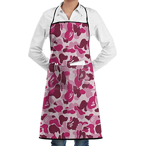Sdltkhy Pink Camo Adjustable Bib Apron with Pockets for Women and Men -