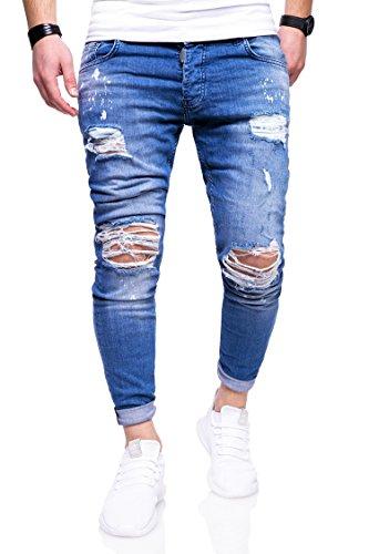 MT Styles Herren Destroyed Jeans Hose JN-3296 [Blau, W34/L32]