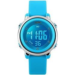 BesWLZ Digital Watch Outdoor Sports Kids LED Alarm Stopwatch Children's Dress Wristwatches Blue