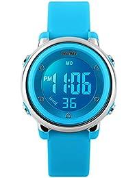 BesWLZ, orologio da polso digitale per bambini, adatto per gli sport all'aria aperta, con illuminazione LED, allarme e cronometro, azzurro