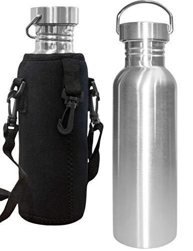 Outdoor Saxx® - Edel-Stahl Flasche | Trink-Flasche Bottle, Milch-Flasche, Große Öffnung, Retro Design, BPA frei, unzerbrechlich, 750ml | Neopren Trage-Tasche -