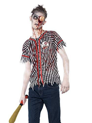 Fancy Ole - Herren Männer Männer Horror Zombie Baseball Spieler Kostüm, Hemd Augenklappe und Baseball Schläger, perfekt für Halloween Karneval und Fasching, XS, Schwarz