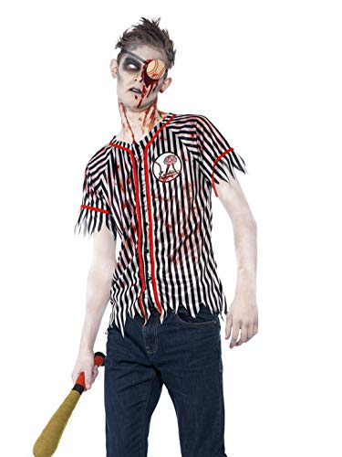 Fancy Ole - Herren Männer Männer Horror Zombie Baseball Spieler Kostüm, Hemd Augenklappe und Baseball Schläger, perfekt für Halloween Karneval und Fasching, XS, Schwarz (Zombie Baseball Kostüm)