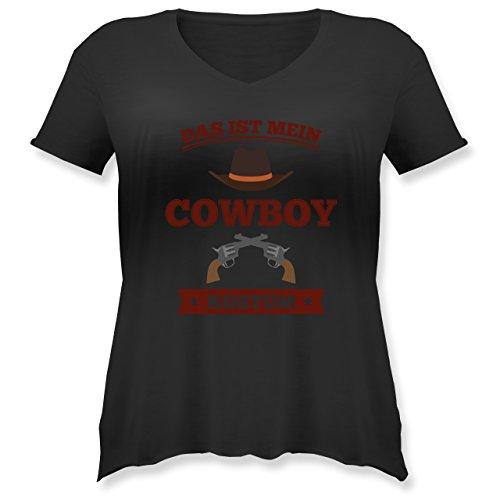 Karneval & Fasching - Das ist Mein Cowboy Kostüm - M (46) - Schwarz - JHK603 - Weit geschnittenes Damen Shirt in großen Größen mit V-Ausschnitt