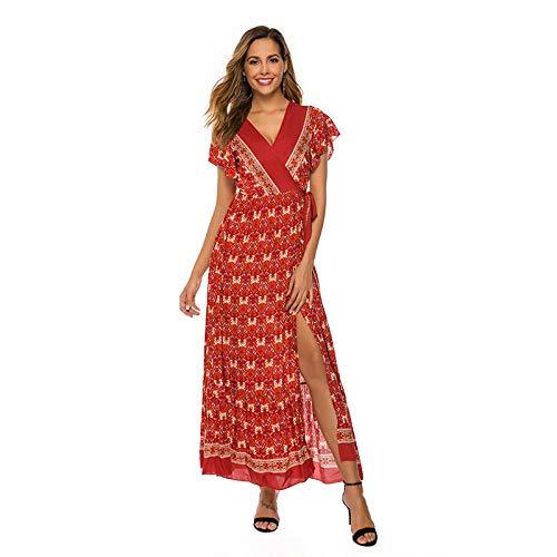 Populare Kostüm Modelle - cylyq Damen-Kleider Cocktailkleider für Damen Freizeitkleider für Damen Festlich-Partykleid Abendkleider für DamenKurzarm Kleid Damen Sommer Explosion Modelle V-Ausschnitt Kurzarm rot XXL