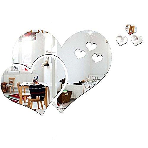 Maxgoods 2 pezzi 3d specchio amore cuore adesivi murali, bagno toilette specchio porta accessori per la casa ufficio, moda carino famiglia rimovibile diy arte murale arredamento decorazione, argento