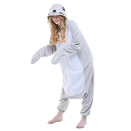 Kinder Kostüm Seal (Colourfulworld Einhorn Pyjamas Tierkostüme Fleece Overall Schlafanzug Tier Unicorn Kostüme Cosplay Tieroutfit Für Kinder / Erwachsene (XL, Seal))