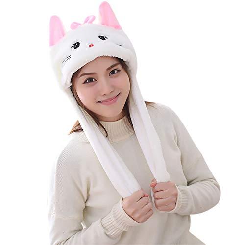 Woneart Plüsch Bunny Ohren Stirnband Kaninchen Ohren Hut-Kappe mit Beweglichen Ohren Tier Ostern Verkleidung Tiermütze Kostüm Plüschtiere (Cute Cat)