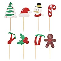 ‏‪HOKPA Christmas Cupcake Toppers, Glitter Elf leg, Santa Hats, Christmas Tree, Snowman, Berries Muffin Fruit Cake Food Picks for Christmas Xmas Party Favor (42PCS)‬‏