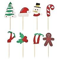 HOKPA Christmas Cupcake Toppers, Glitter Elf leg, Santa Hats, Christmas Tree, Snowman, Berries Muffin Fruit Cake Food Picks for Christmas Xmas Party Favor (42PCS)