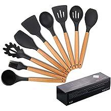 Utensilios de cocina de silicona, antiadherente Mreechan con mango de madera para utensilios de cocina