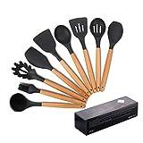 Utensilios de cocina de silicona, antiadherente Mreechan con mango de madera para utensilios de cocina antiadherentes - Juegos de cocina Gadgets(9 piezas)