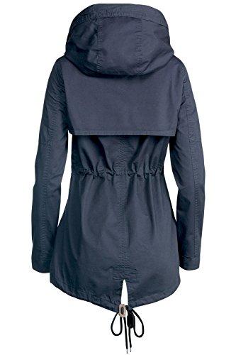 Trisens Damen Jacke ÜBERGANGSJACKE Trenchcoat Kapuze 100% Baumwolle LEICHT KURZ, Farbe:Dunkelblau, Größe:S - 5