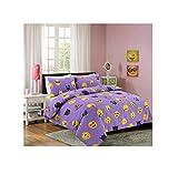 Casa D'Or Ikons Bettwäsche-Set für Doppelbett, Lila, Bettbezug und Kissenbezug, mit Gesichtsausdrücken und Emotionen, Doppelbett, Lila